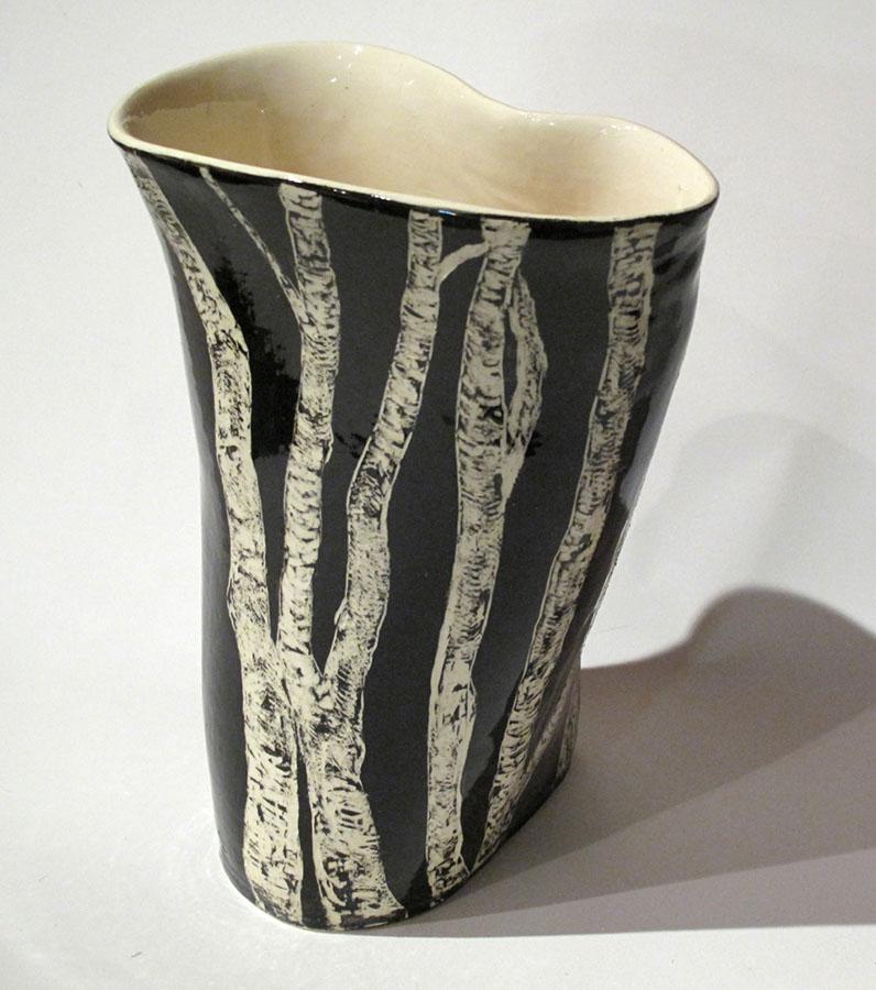 Birch vase, ceramic