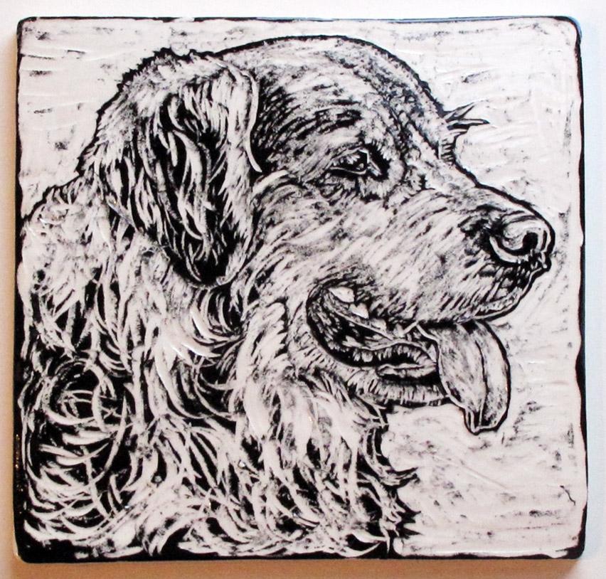 Canine pet portrait commission, ceramic sgraffito tile