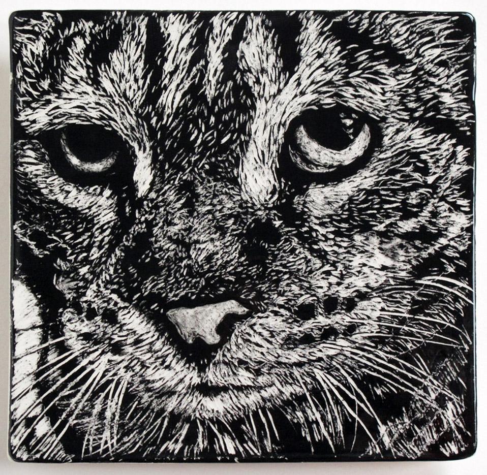 """Pooh Cat,"" ceramic sgraffito tile"