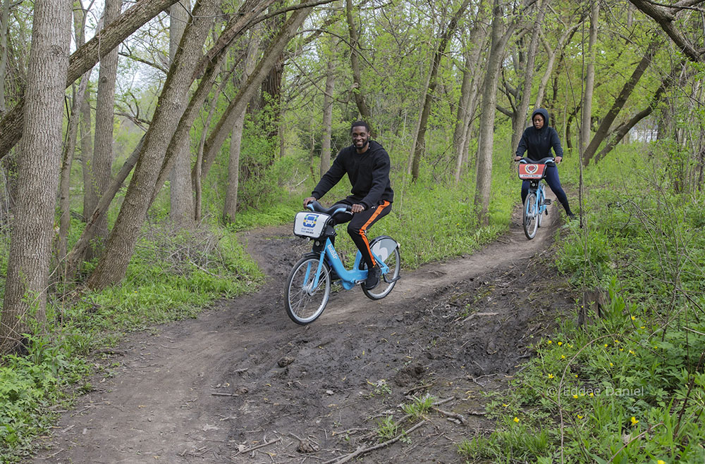 Elgin and Penny on Bublr bikes, Hoyt Park Mountain Bike Trail, Wauwatosa
