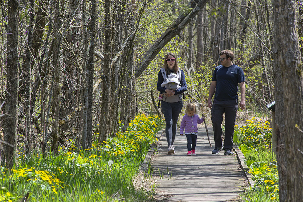 Elizabeth and Tyler with their children, Cedarburg Bog State Natural Area, Saukville