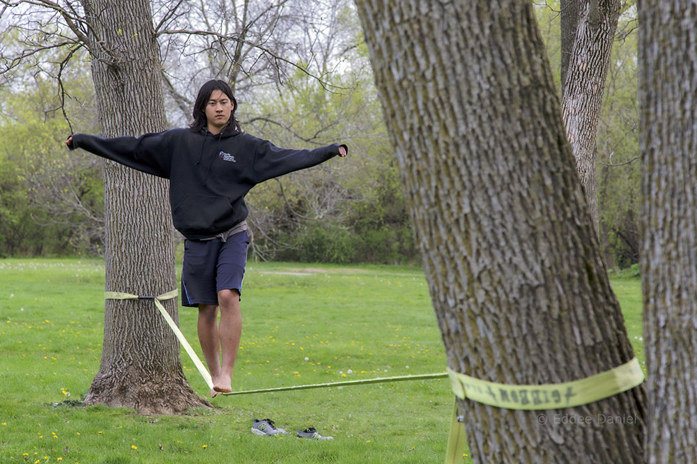 Jacob on the slack line, Hoyt Park, Wauwatosa
