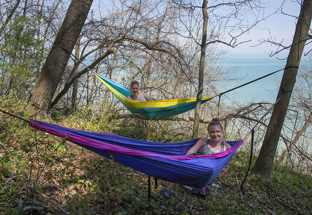 Lindsay and Ashley enjoying a lake view in their hammocks, Donges Bay Gorge Nature Preserve, Mequon