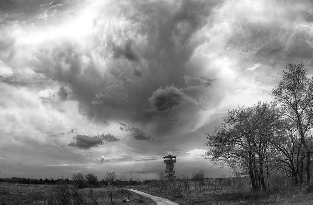 Ominous Skies Behind Observation Tower