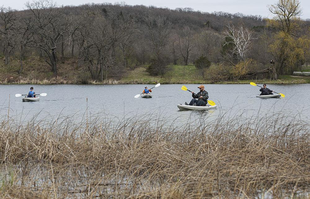 Family of kayaks, Ottawa Lake State Recreation Area