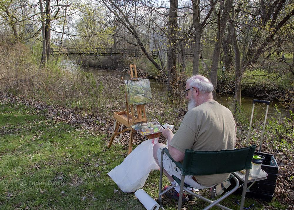 Plein Air painter Tom Smith, Hoyt Park, Wauwatosa