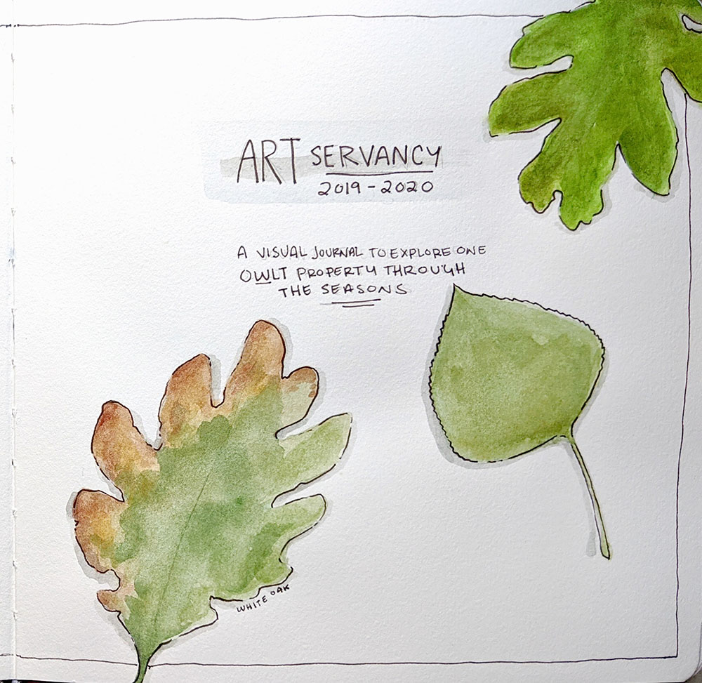 """ARTservancy visual journal title page,"" watercolor and micron pen"