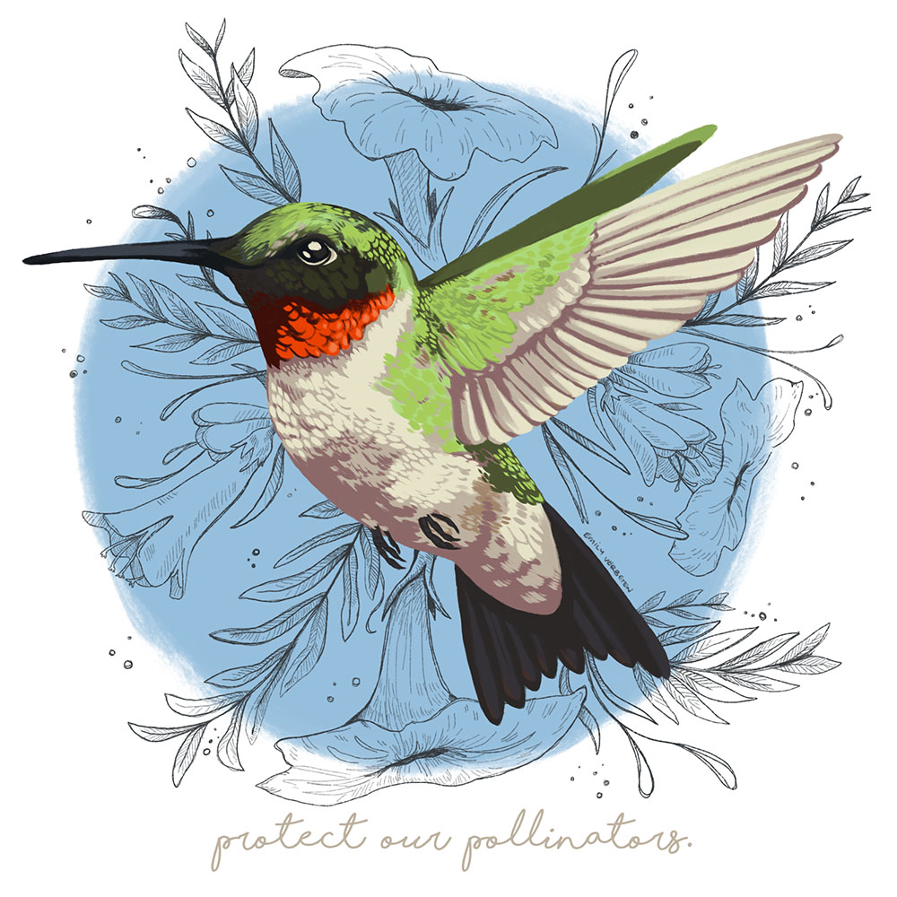 """Protect Our Pollinators: Earth Day,"" digital painting"