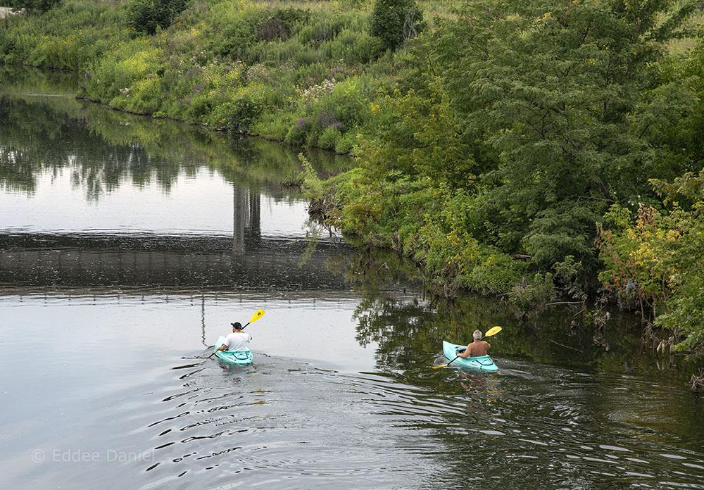 two kayaks on the Menomonee River