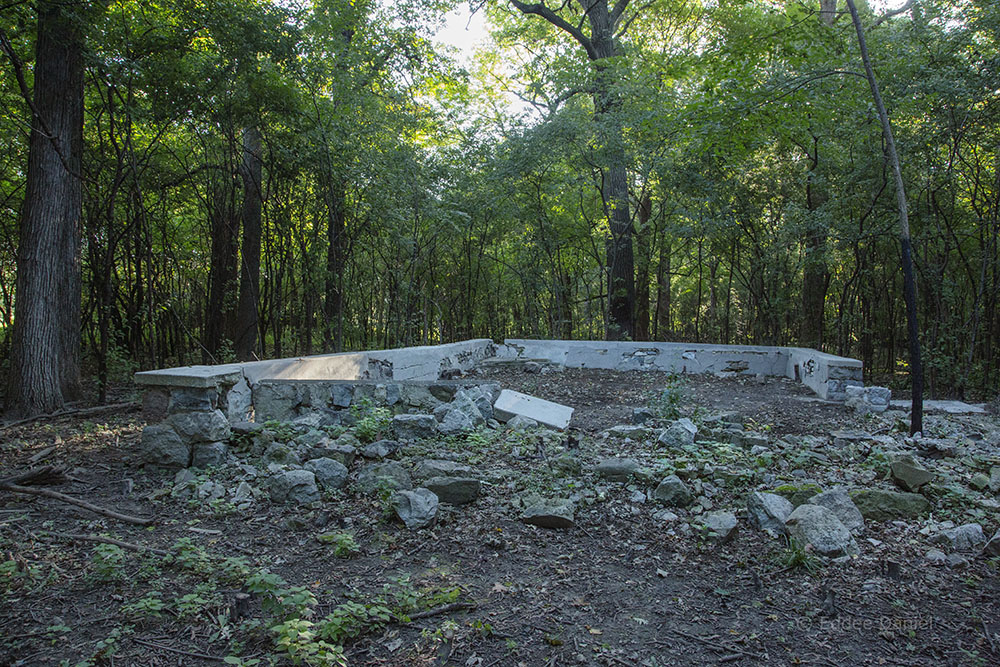 """The """"Men's Pavilion"""" hemmed in on two sides with buckthorn before clearing."""