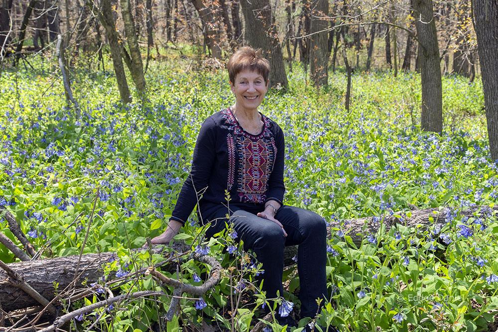 Barbara Manger among bluebells