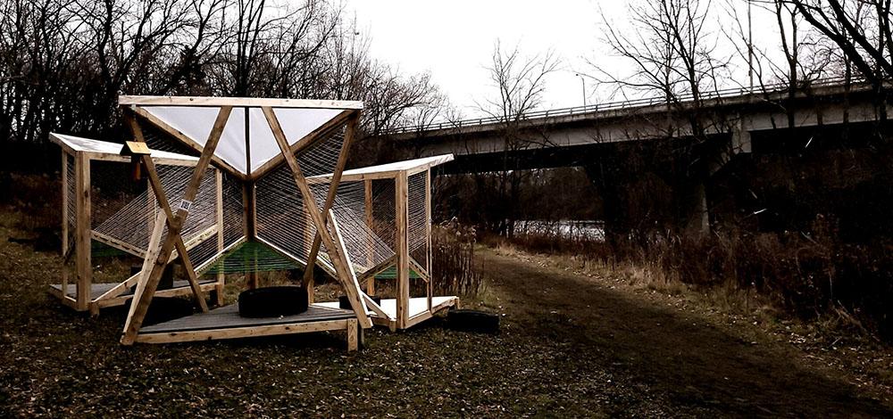 An architectural installation in Estabrook Park