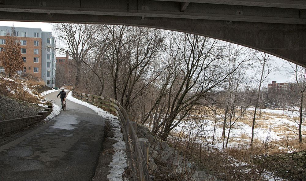 The Beerline Trail at North Avenue leading up to the top of the bluff and Gordon Park