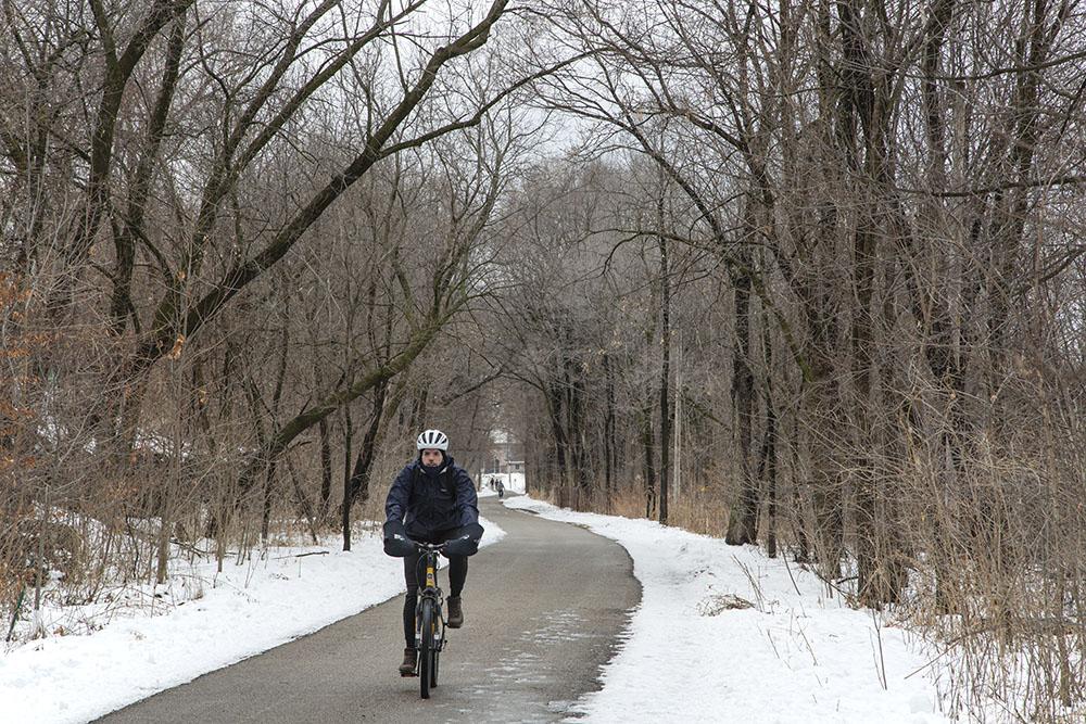 Cyclist on the Beerline Trail near Gordon Park
