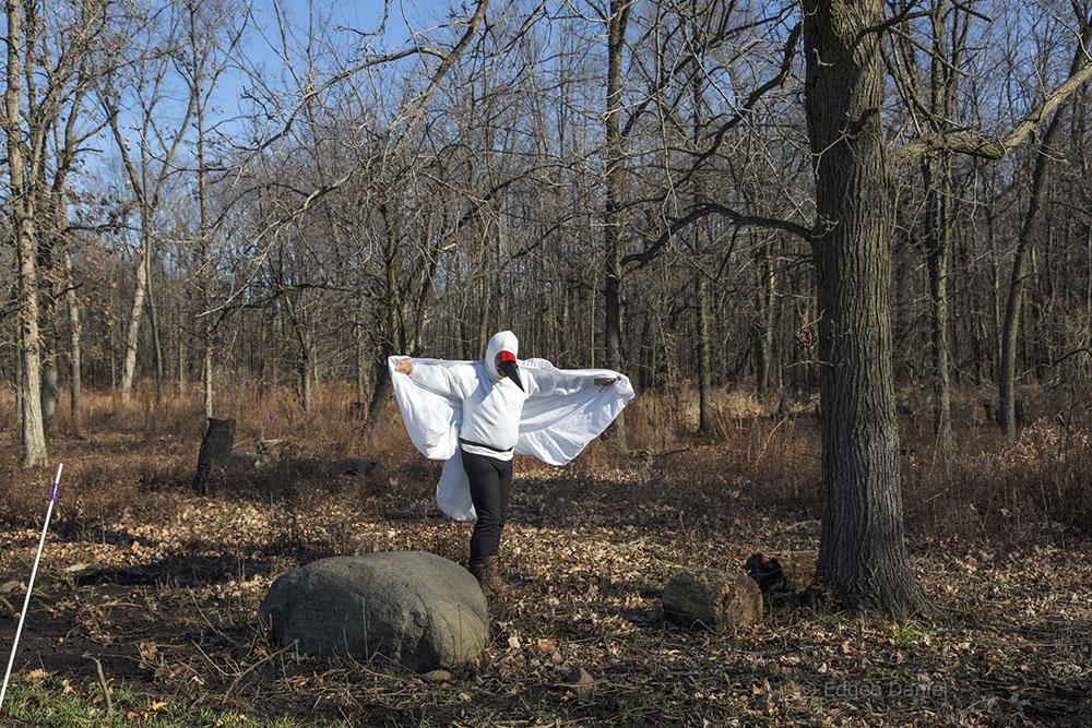Author Jim Uhrinak masquerading as a crane.