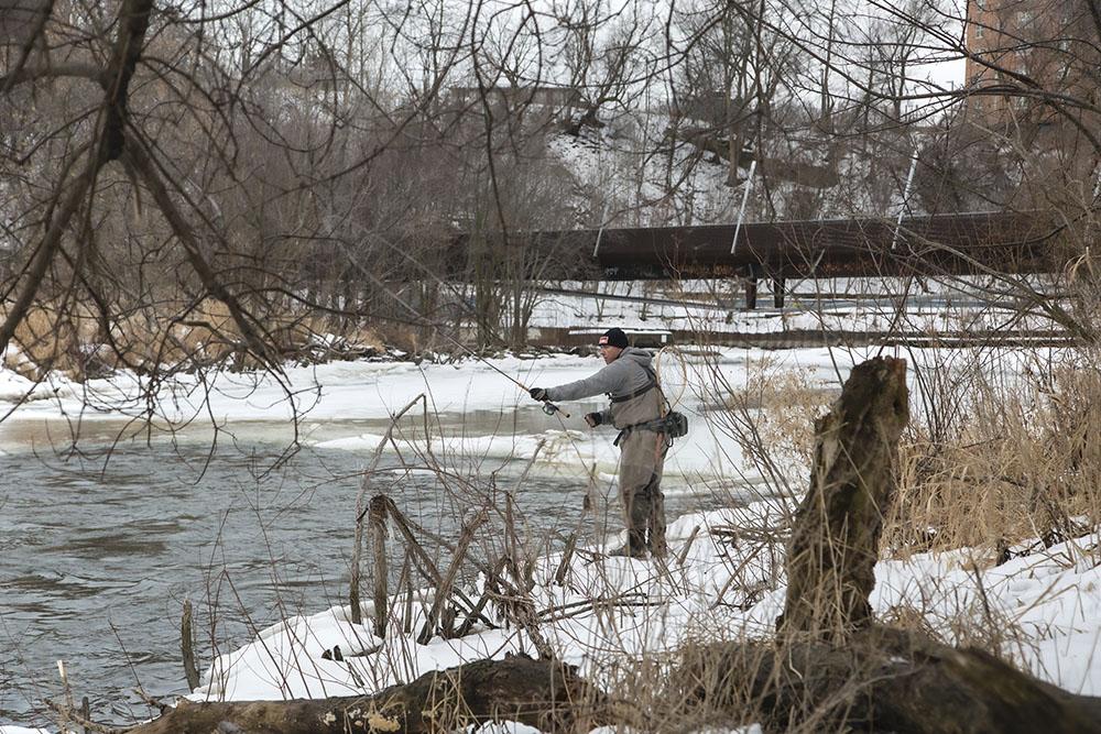Fishing the flume upstream from the pedestrian bridge