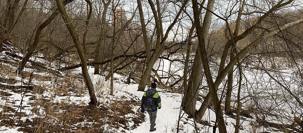 West Bank Trail of Milwaukee River Greenway in winter