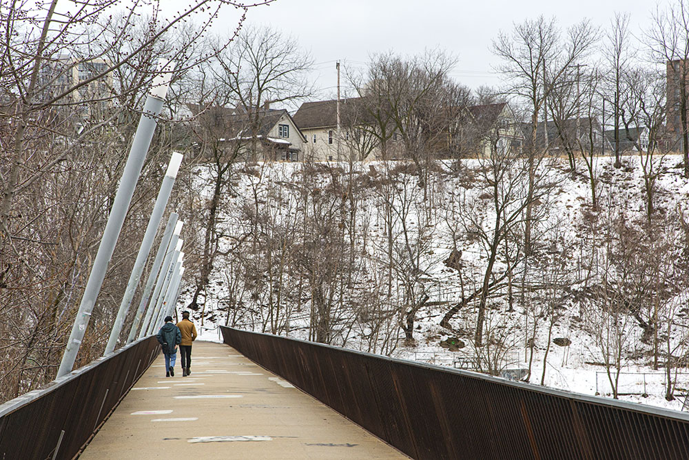 Pedestrian bridge connects Turtle Park with Caesar's Park at the site of the former North Avenue Dam