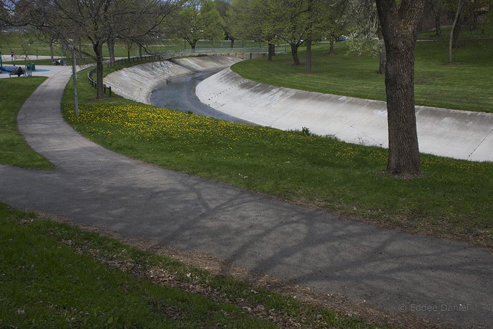 The concrete channel of the KK River in Pulaski Park. 2009