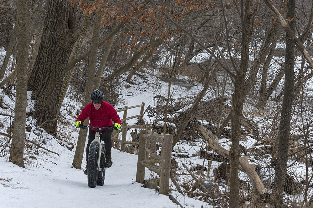 Fat tire cyclist on East Bank Trail