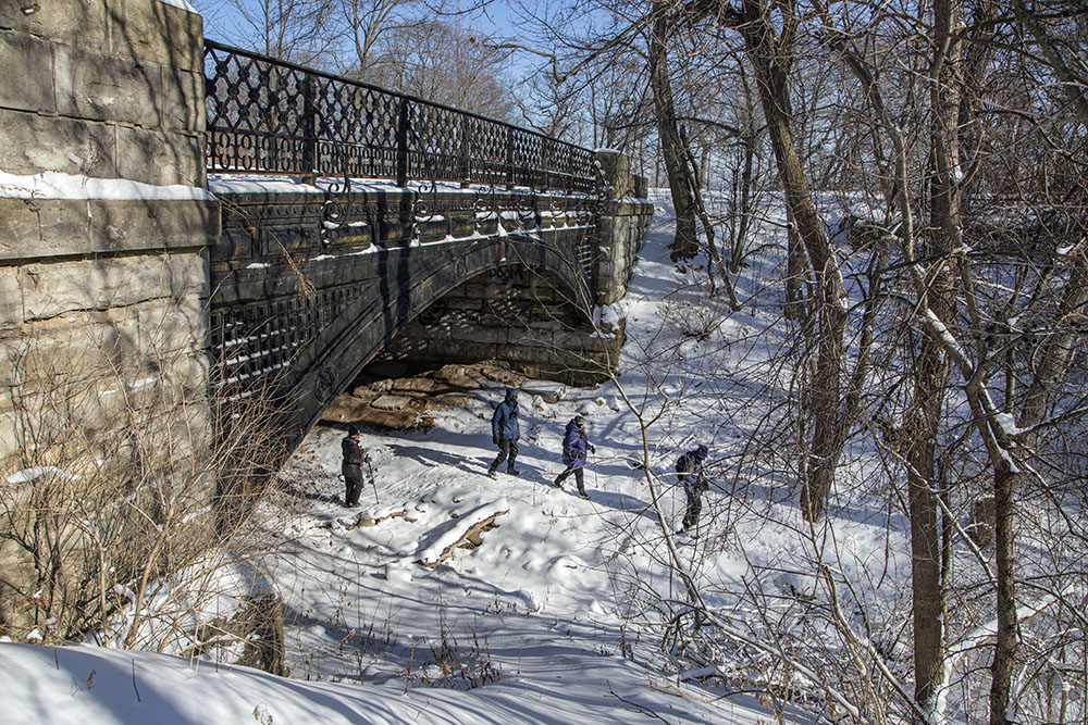 One of the many decorative and historic bridges over the ravines.