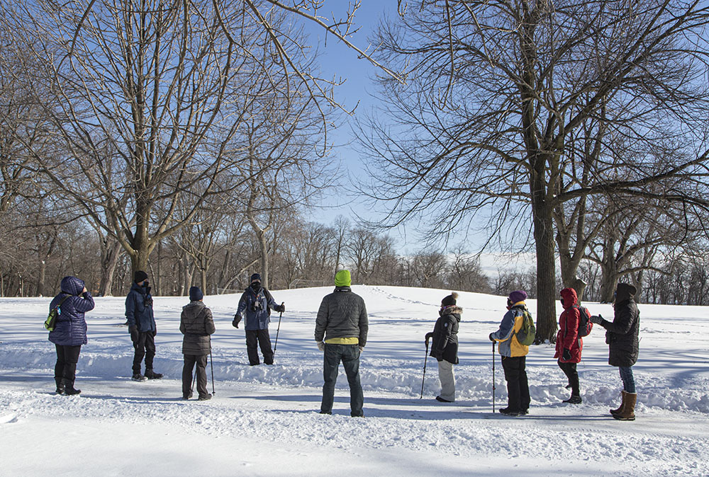 The slight rise beyond the group is the last remaining Indian mound in Milwaukee.