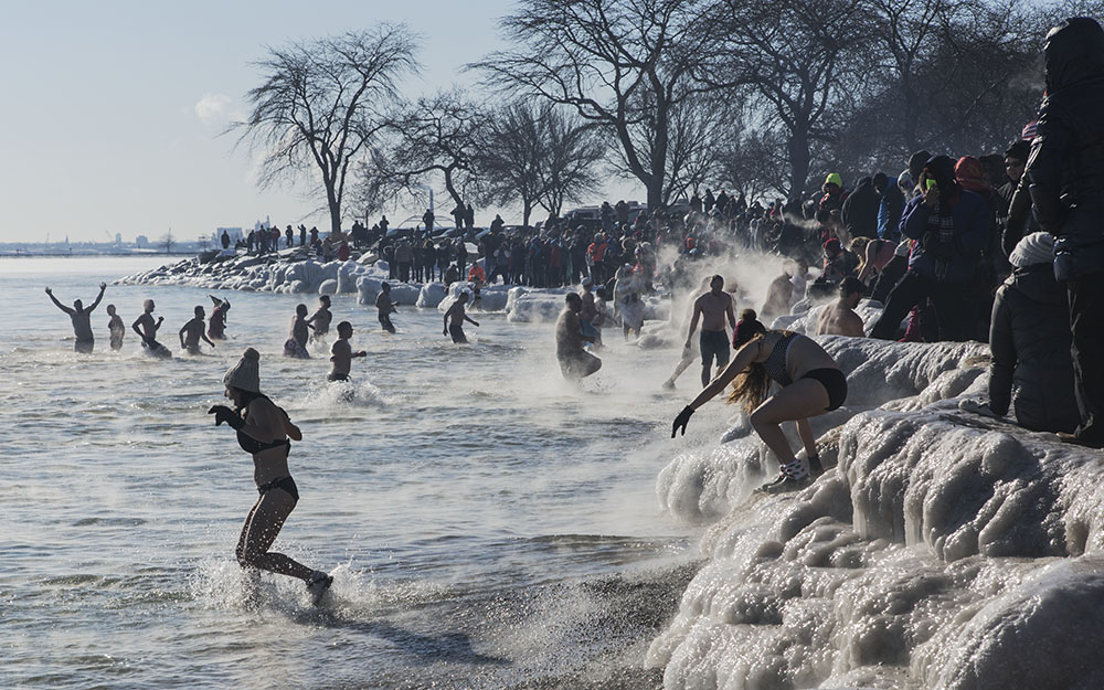 Bradford Beach packed with spectators on January 1 for the annual Polar Bear Plunge.