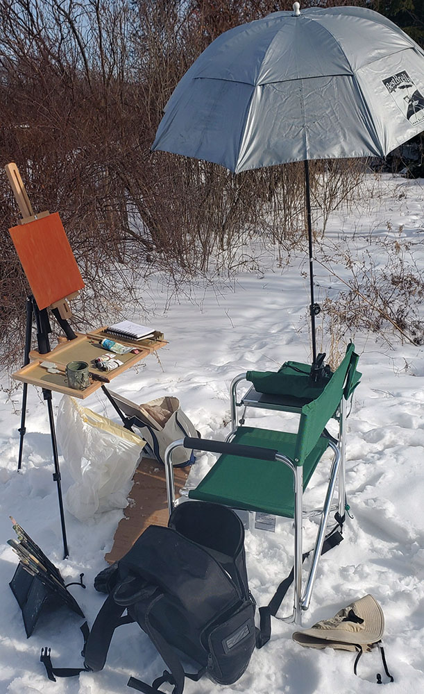 The artist's set up for plein air painting.