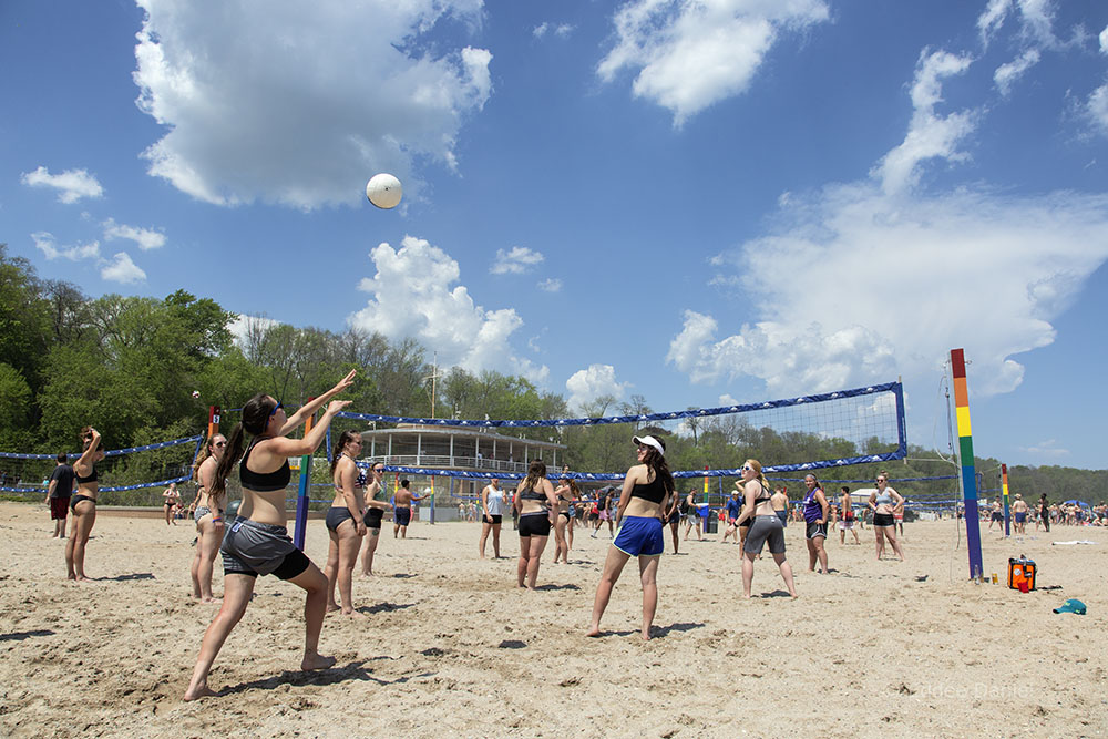 Beach volleyball out in front of the Pavilion