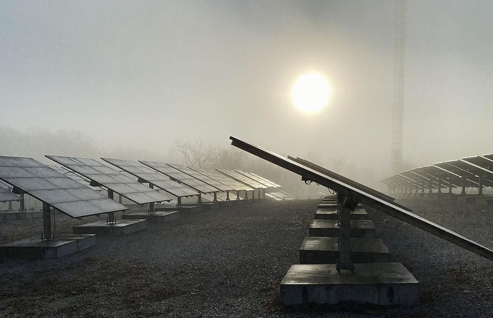 Solar panel array at sunrise.