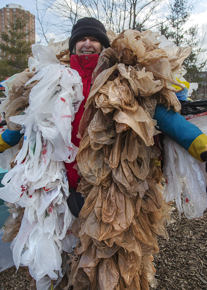 "Plastic-Free MKE's ""Plastic Monster"" at Woolly Bear Fest in Turtle Park, Milwaukee."