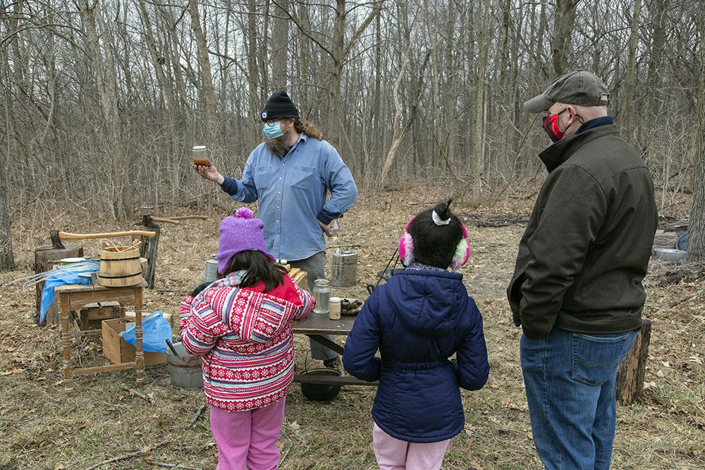Howard Aprill of the Wehr Nature Center at the maple sugaring camp.